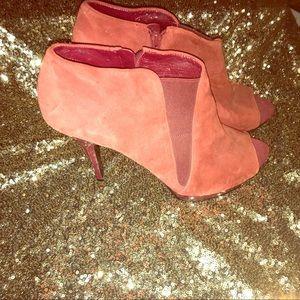 Suede peep toe heels